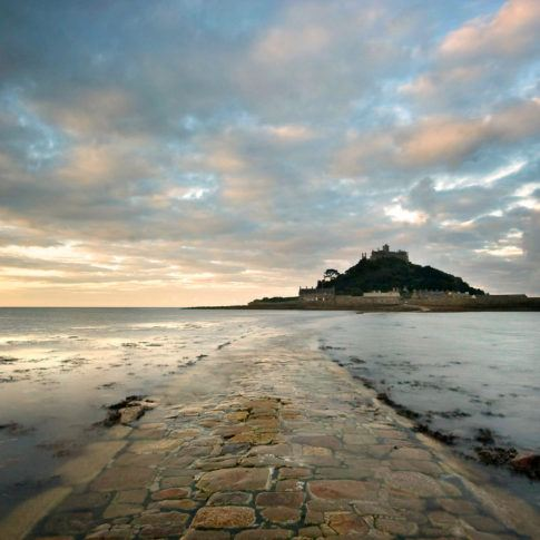 Coast, Cornwall, Sky, Stmichaelsmount, causeway, mountain, sea, sunrise, tide, wave