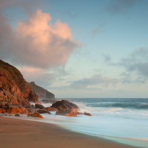Coast, Cornwall, Praasands, Rocks, Sky, cliff, sand, sea, sunset, tide, wave