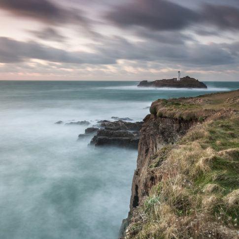Coast, Cornwall, Rocks, Sky, blue, cliff, crash, godrevy, lighthouse, longexposure, sea, tide, wave