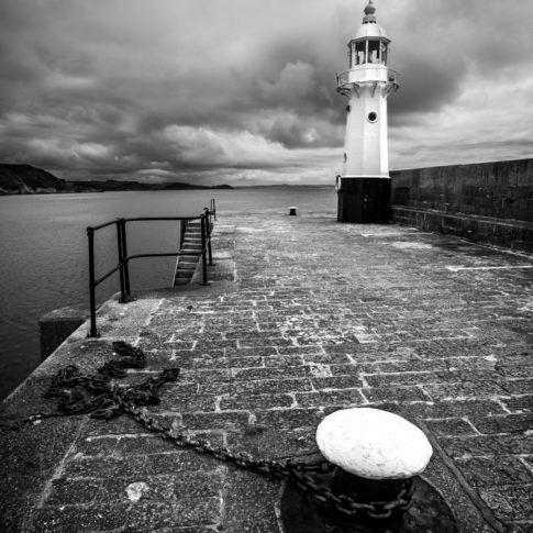 Cornwall, Sky, blackandwhite, chain, cloud, harbour, lighthouse, mevagissey, mono, sea