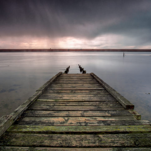 Fleet, lagoon, jetty, wood, chesil beach, sea, water, rain, sky, cloud