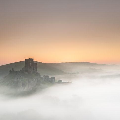 Mist, Corfe, Castle, Dorset, sunrise, sky, hills, trees