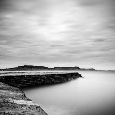 Lyme Regis, Dorset, cobb, sea, wall, mono, black and white, still, minimalistic