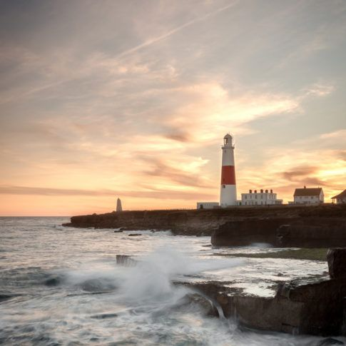 Portland Bill, Dorset, Sea, waves, rocks, sky, lighthouse, sunset