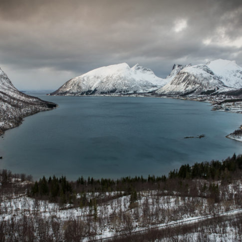 Mountains, Snow, cloud, mountain, nature, norway, ocean, road, sea, steinfjord, water, winter