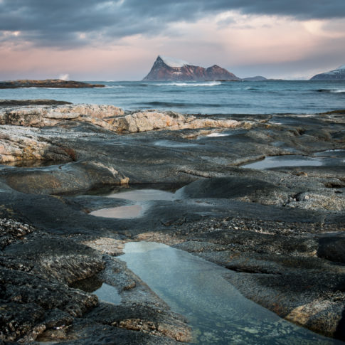 Sommarøy, Sunrise, sea, tide, drag, rock, haha, mountain, snow, rock