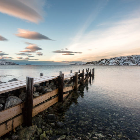 Arctic, jetty, norway, water, sea, ocean, mountain, snow, cloud, blue, sunset