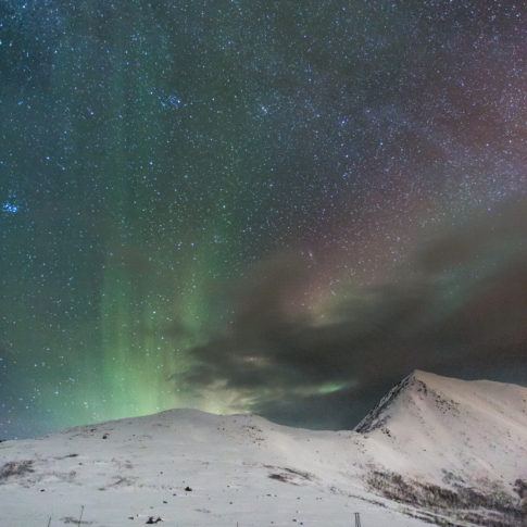 Snow, aurora, stars, night, mountain, cloud, norway, tromvik