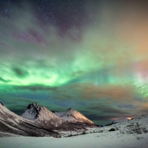 Tromvik, aurora, snow, mountains, green, night, stars, cloud,