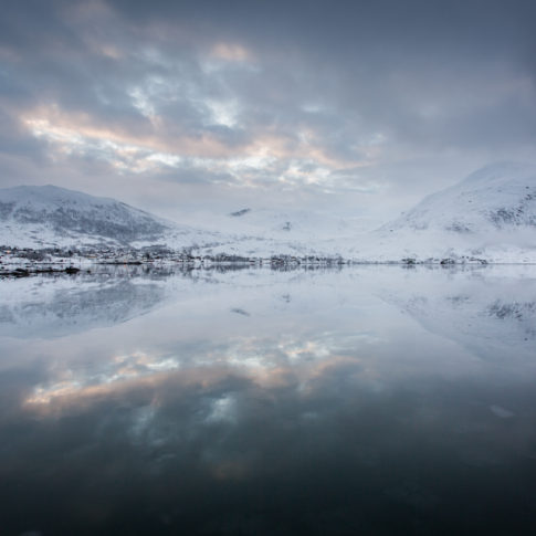 Mirror, reflection, clouds, mountains, snow, norway
