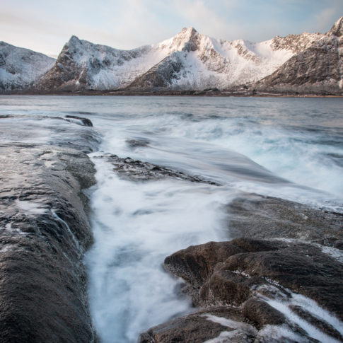 Mountains, Snow, cloud, flow, ice, norway, rock, sea, senja, sunrise, water, winter