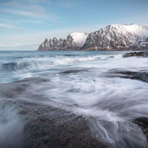 Mountains, Snow, cloud, norway, rock, sea, senja, sunrise, winter