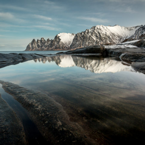 Mountains, Snow, cloud, ice, mirror, norway, reflection, rock, sea, senja, sunrise, water, winter